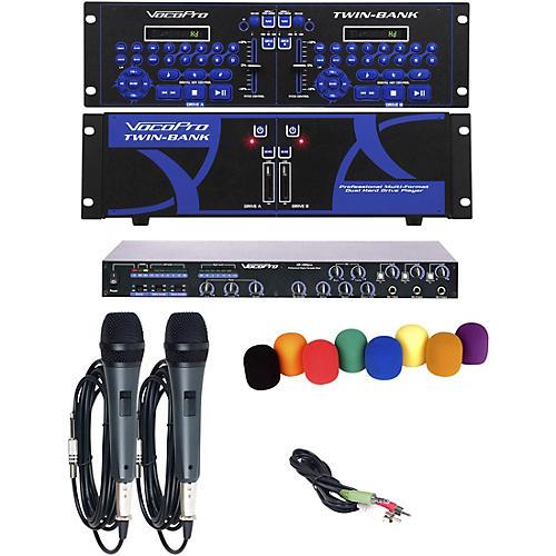 VocoPro TWIN-BANK PLUS Digital DJ Karaoke Installation System with Powered Speakers