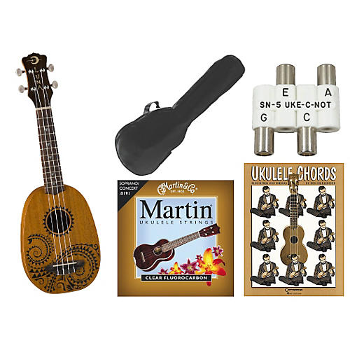 Luna Guitars Tattoo Pineapple Soprano Ukulele Bundle