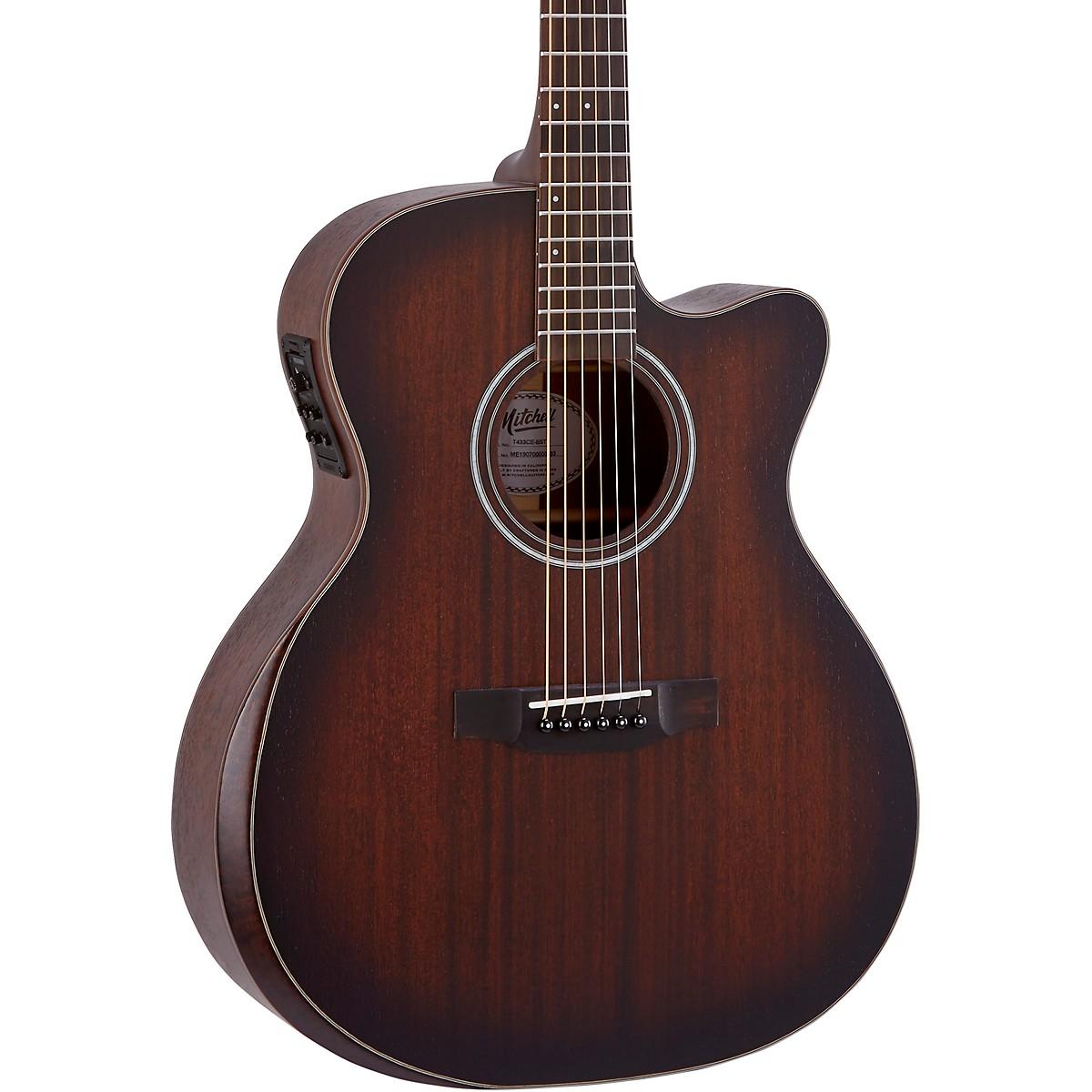 Mitchell Terra Series T433CEBST Auditorium Solid Mahogany Top Cutaway Guitar