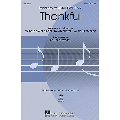 Hal Leonard Thankful SAB Arranged by Rollo Dilworth