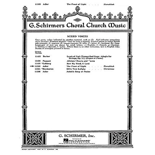 G. Schirmer The Feast of Light SATB composed by S Adler