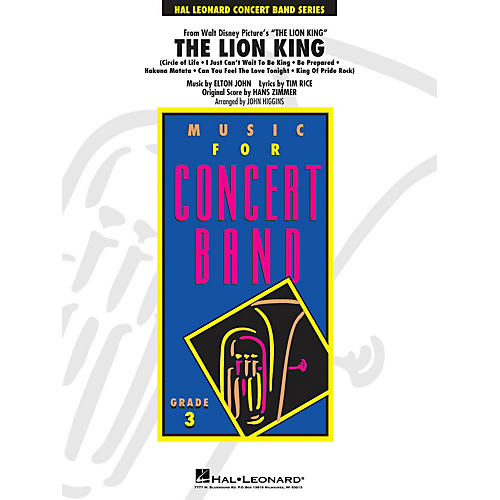 Hal Leonard The Lion King - Young Concert Band Series Level 3 arranged by John Higgins