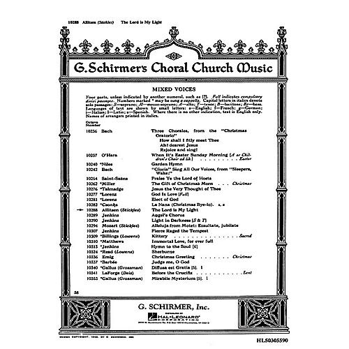 G. Schirmer The Lord Is My Light SATB composed by Frances Allitsen
