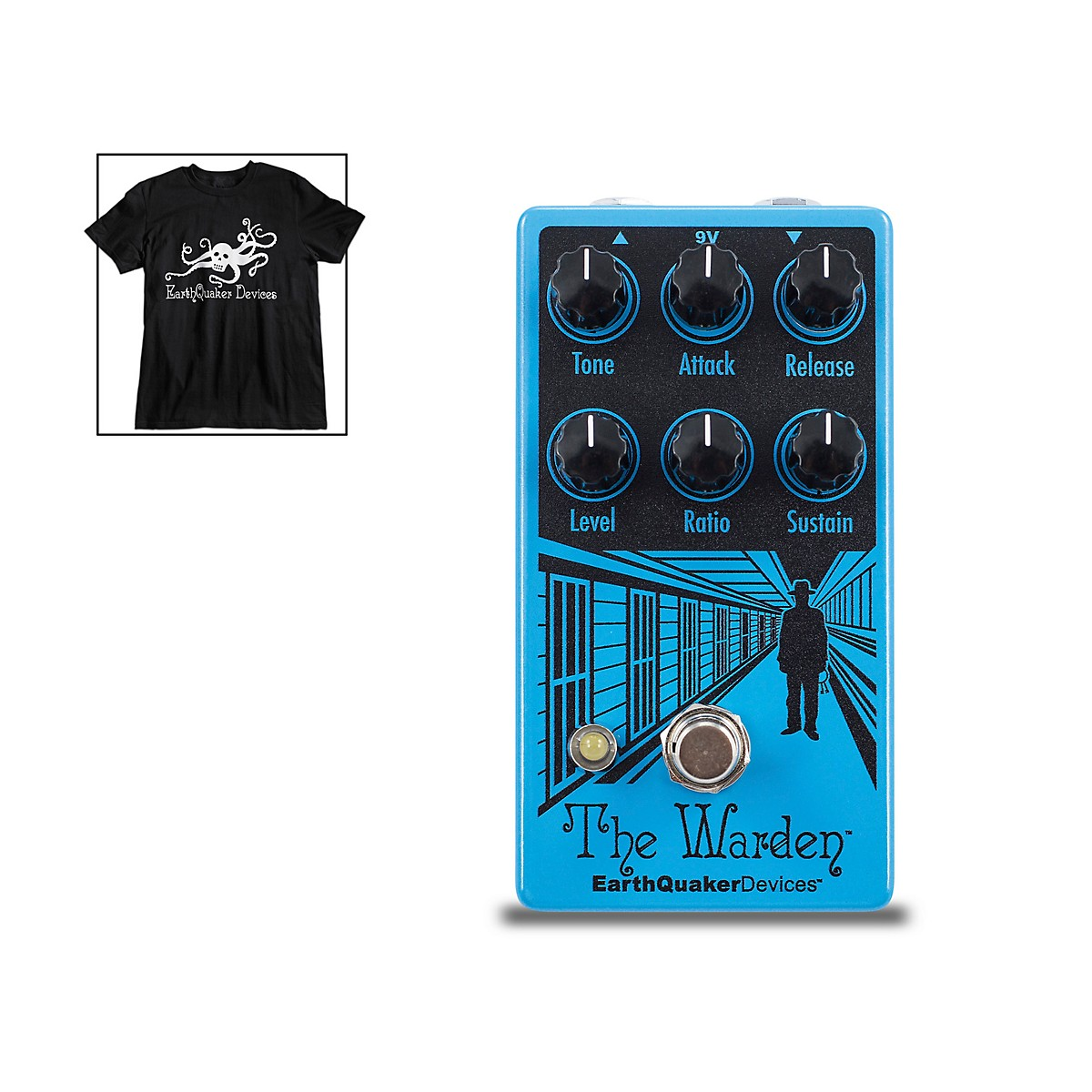Earthquaker Devices The Warden V2 Optical Compressor Effects Pedal and Octoskull T-Shirt Large Black