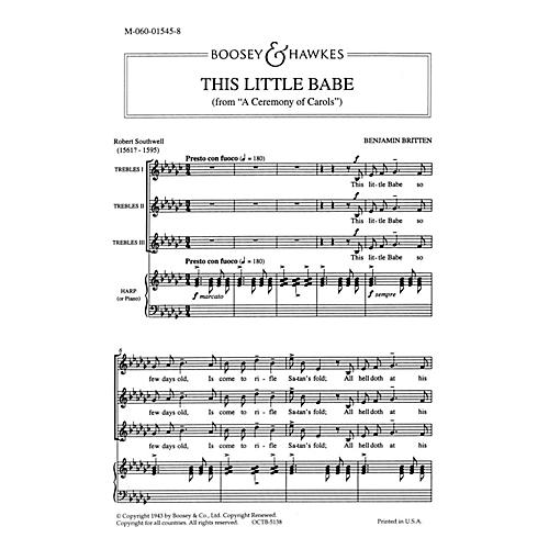 Boosey and Hawkes This Little Babe (SATB and Harp (Piano)) SATB Composed by Benjamin Britten Arranged by Julius Harrison