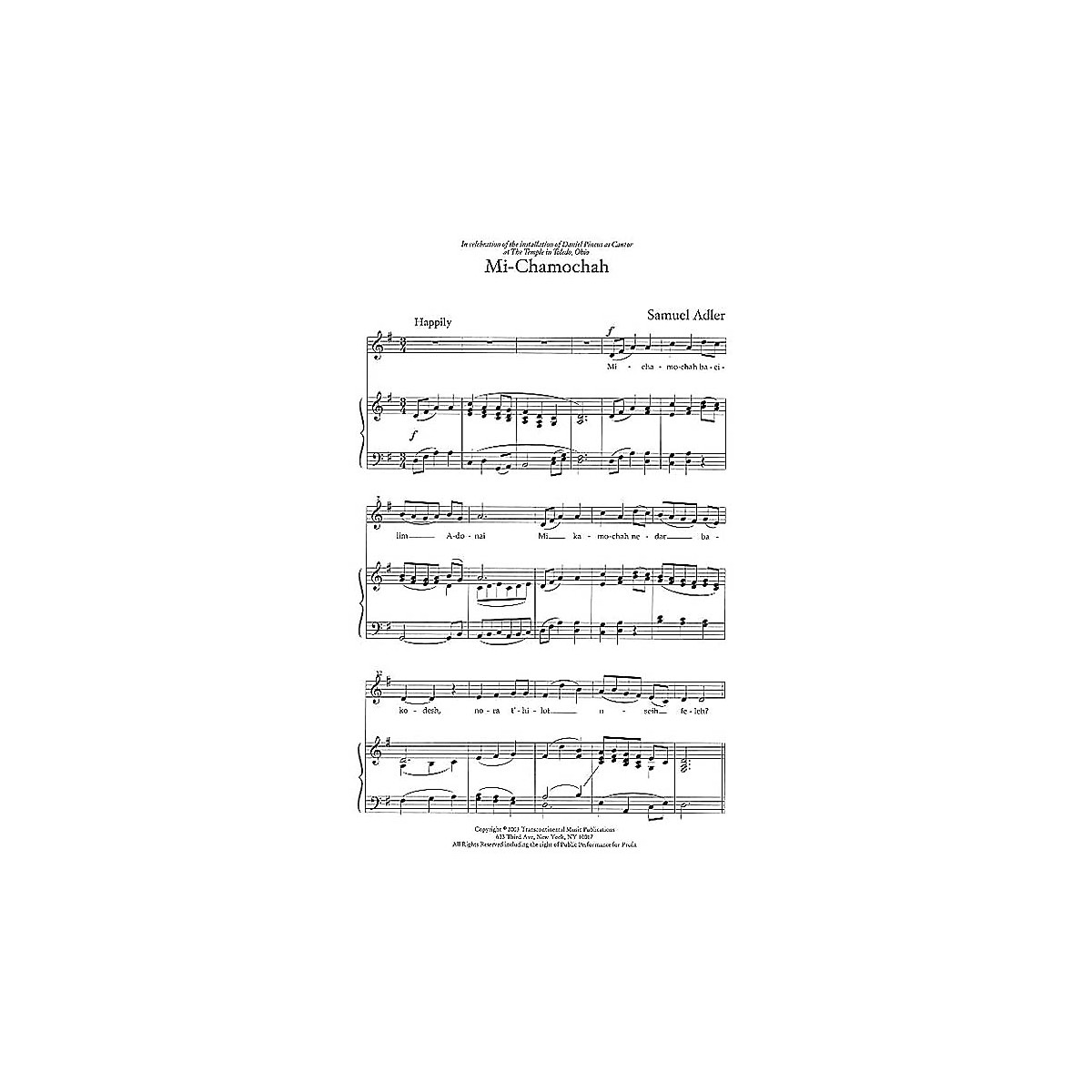 Transcontinental Music Three Liturgical Settings SAB composed by Samuel Adler