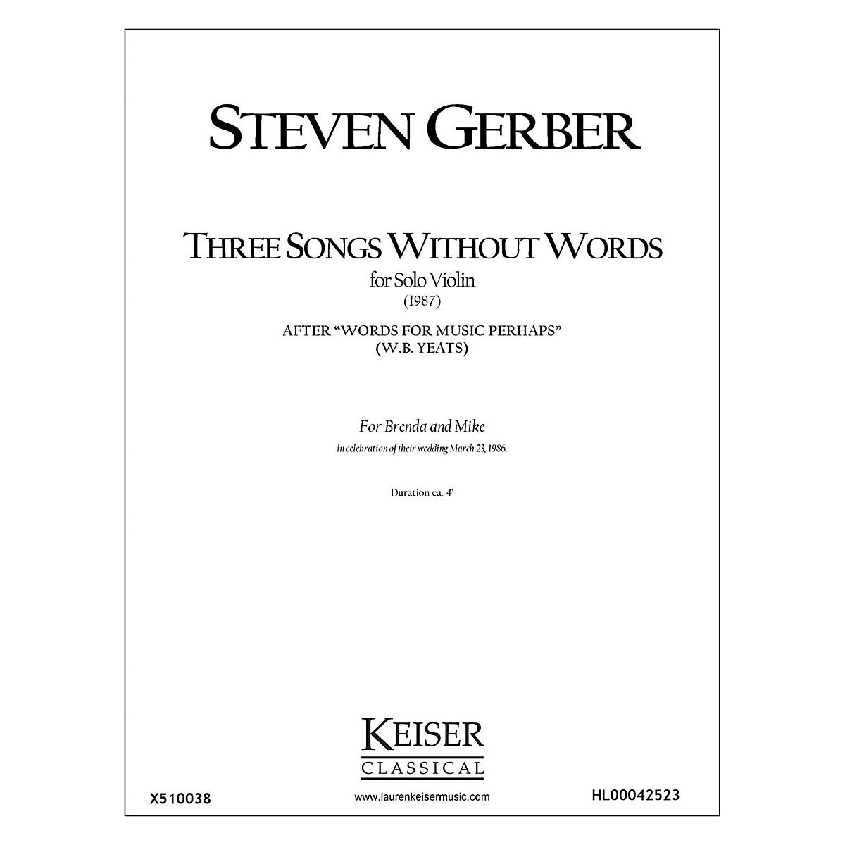 Lauren Keiser Music Publishing Three Songs Without Words from Words for Music Perhaps LKM Music Series by Steven Gerber
