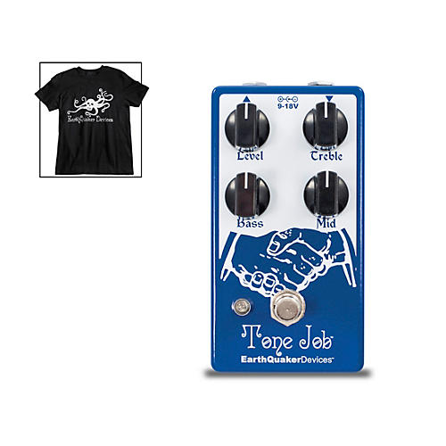 Earthquaker Devices Tone Job V2 EQ & Boost Guitar Effects Pedal and Octoskull T-Shirt Large Black