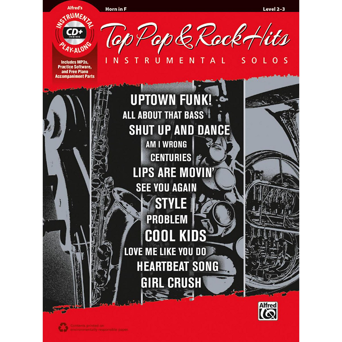 Alfred Top Pop & Rock Hits Instrumental Solos Horn in F Book & CD