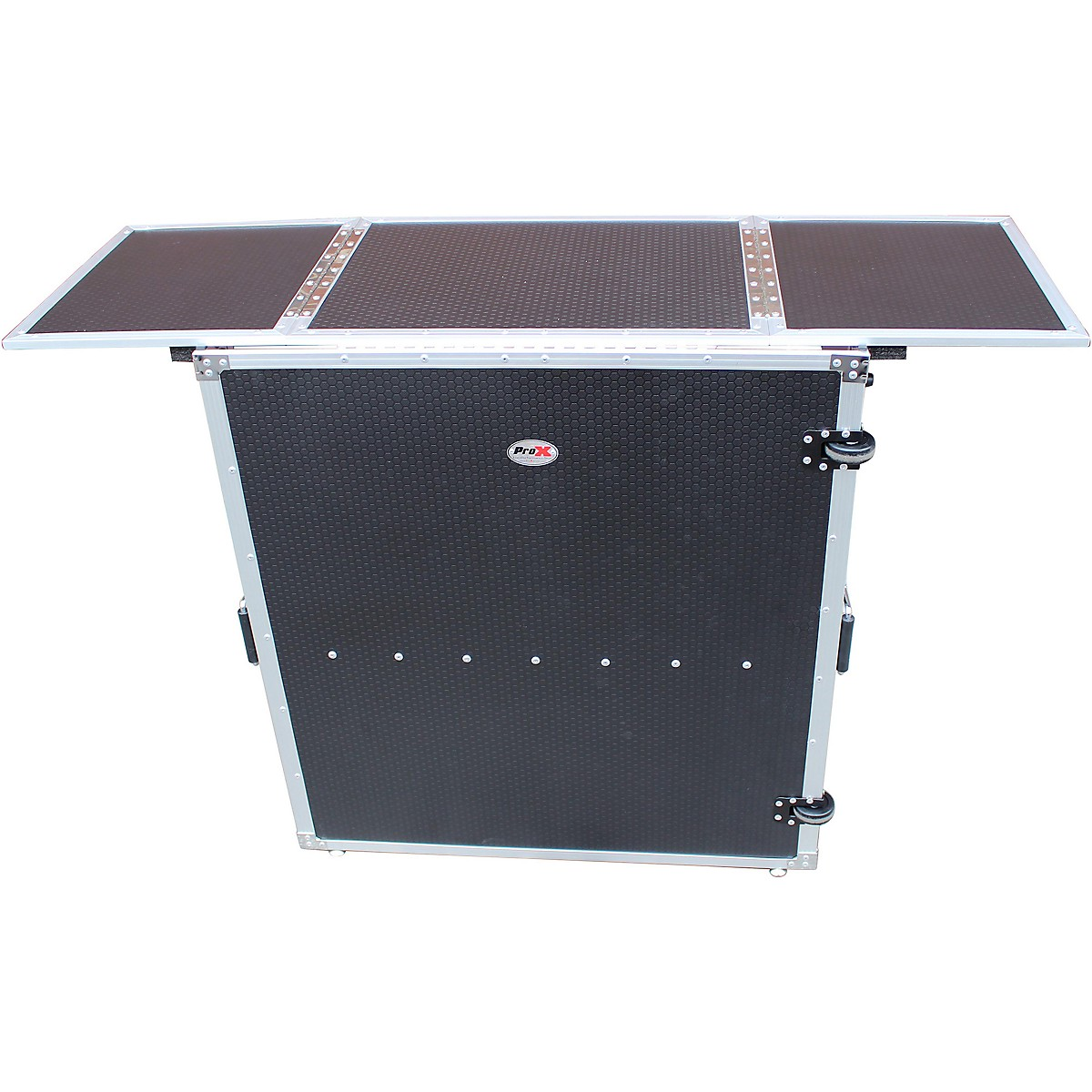 ProX Transformer Series Fold Away DJ Performance Desk Facade Black/Black with Wheels