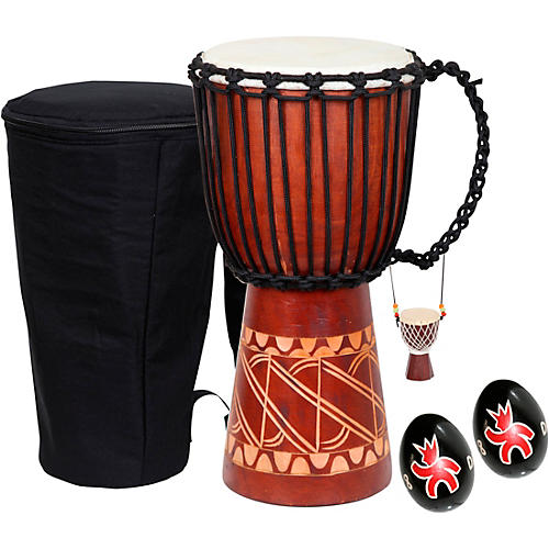 X8 Drums Tribal Djembe with Bag, Shakers and Necklace