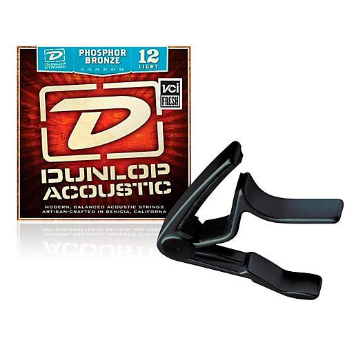 Dunlop Trigger Curved Black Capo andPhosphor Bronze Light Acoustic Guitar Strings