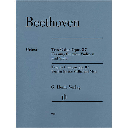 G. Henle Verlag Trio In C Major Op. 87 Version for 2 Violins And Viola By Beethoven / Voss