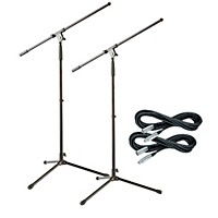 2-Pack Musicians Gear Tripod Mic Stand with 20 Foot Mic Cable