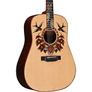 True Love Sailor Jerry Dreadnought Acoustic Guitar Natural