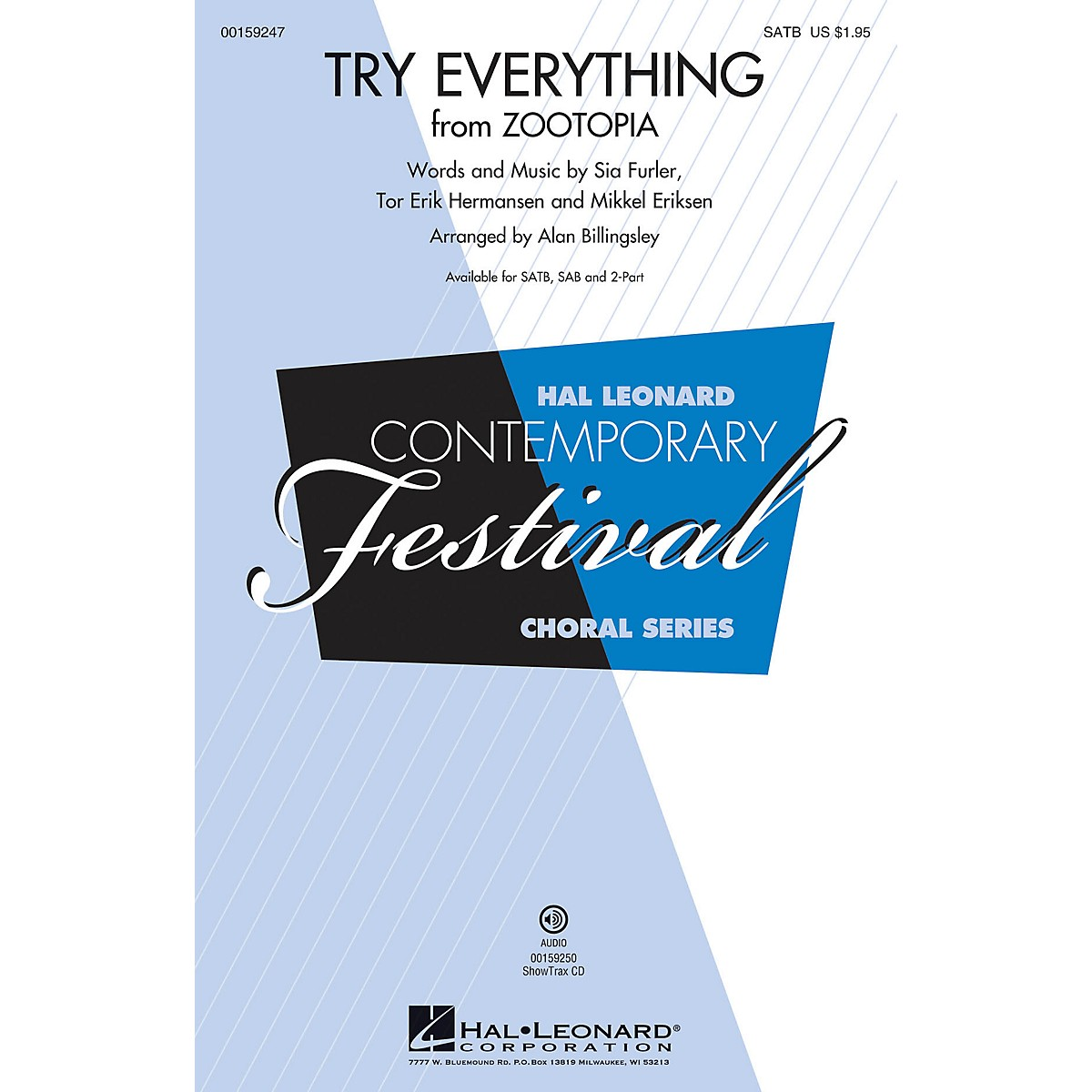 Hal Leonard Try Everything (from Zootopia) 2-Part by Shakira Arranged by Alan Billingsley