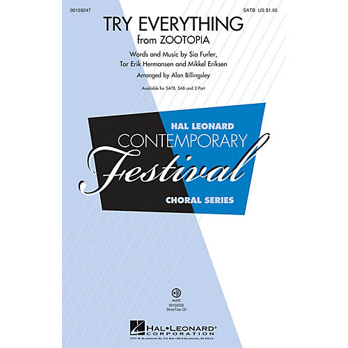 Hal Leonard Try Everything (from Zootopia) SATB by Shakira arranged by Alan Billingsley