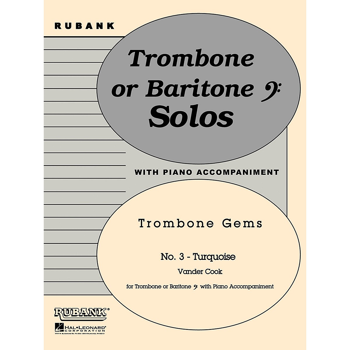 Rubank Publications Turquoise (Trombone (Baritone B.C.) Solo with Piano - Grade 2) Rubank Solo/Ensemble Sheet Series