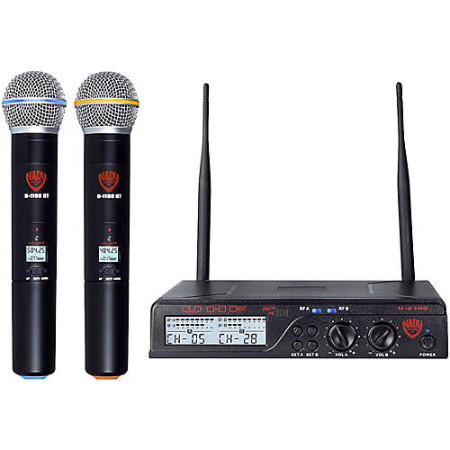 nady u 2100 ht dual 100 channel uhf handheld wireless microphone system band a and b guitar. Black Bedroom Furniture Sets. Home Design Ideas