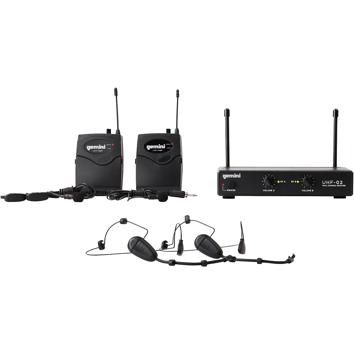 Gemini UHF-02HL 2-Channel Wireless Headset/Lavalier Combo System