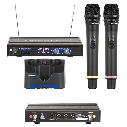 vocopro uhf 3205 dual rechargeable wireless microphone system guitar center. Black Bedroom Furniture Sets. Home Design Ideas