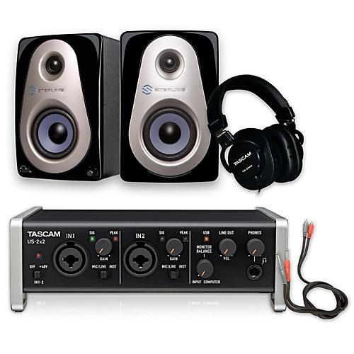 Tascam US-2x2 TH-200X Headphone Package