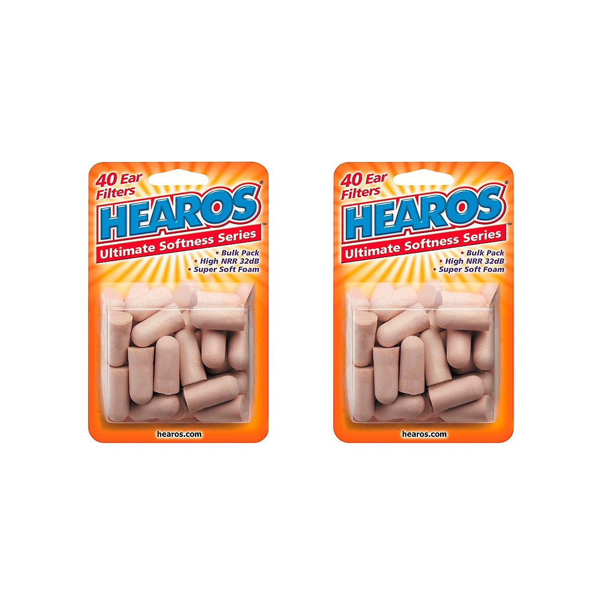 Hearos Ultimate Softness Bulk Pack Ear Plugs 20 Pair (Pack of 2)