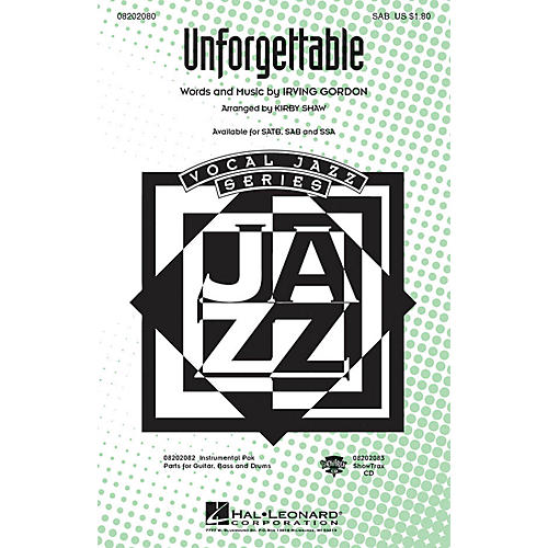 Hal Leonard Unforgettable SAB arranged by Kirby Shaw