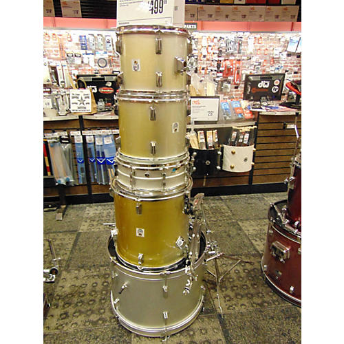 In Store Used Used 1995 Percussion Plus 5 piece Drum Kit Aged Silver Drum Kit