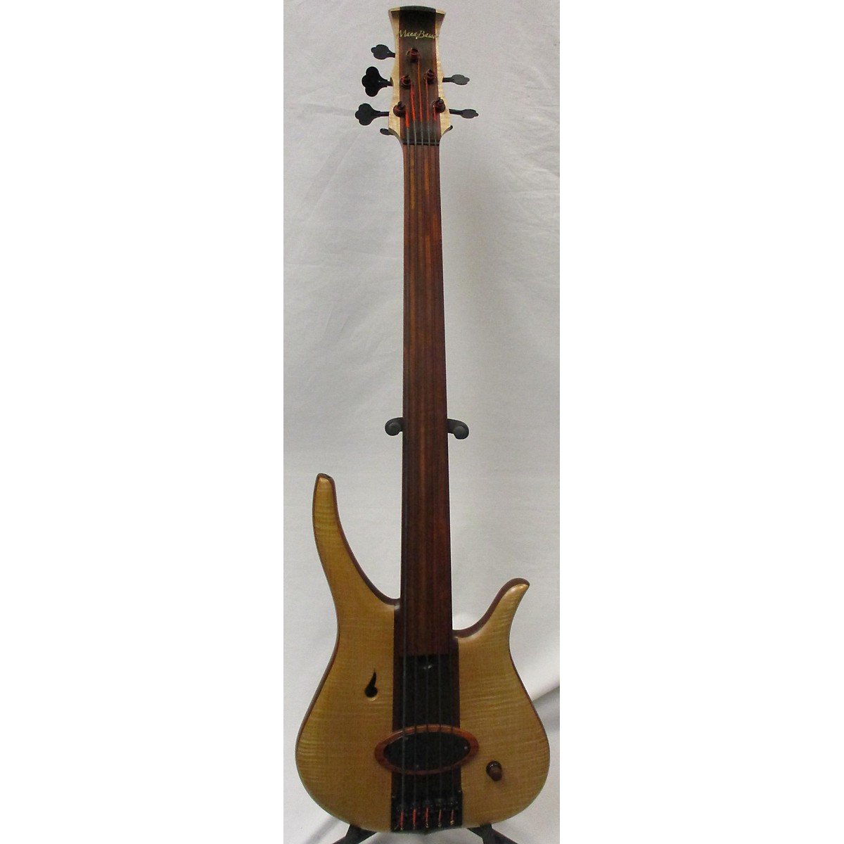 In Store Used Used 2018 Mana Basso La Laberta 1 Semi-Hollow Fretless Natural Electric Bass Guitar