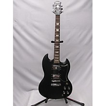 Used Acepro Double Cut Black Solid Body Electric Guitar