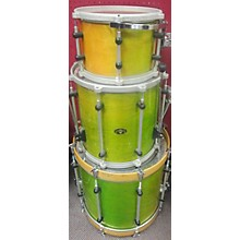 Used Bison 3 piece Maple With Rerings Green Drum Kit