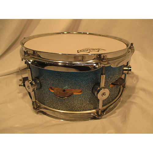 In Store Used Used Custom 5X10 Side Snare With Jingles Drum Blue To Silver Sparkle Fade