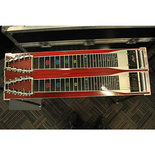 In Store Used Used Derby Double Ten Pedal Steel Chrome Red Solid Body Electric Guitar