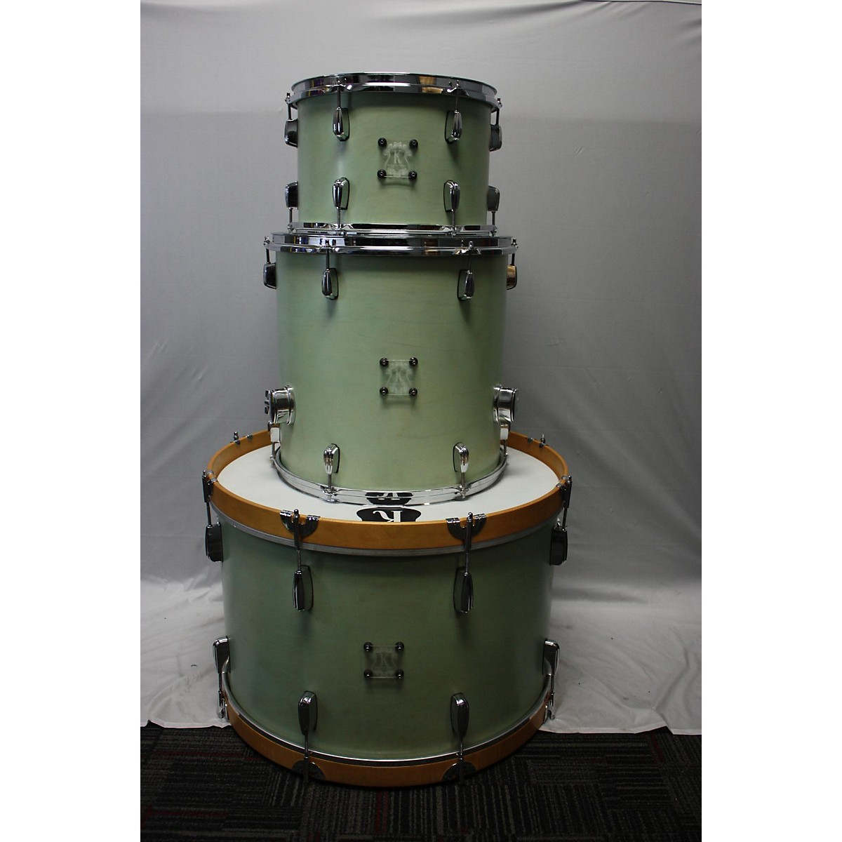 In Store Used Used Kingston Drum Company 3 piece 3 Piece Maple With Keller Shells Seafoam Green Drum Kit