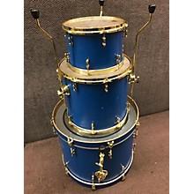 Used LOVE CUSTOM DRUMS 3 piece 3 PIECE CUSTOM BLUE W/ GOLD HARDWARE Drum Kit