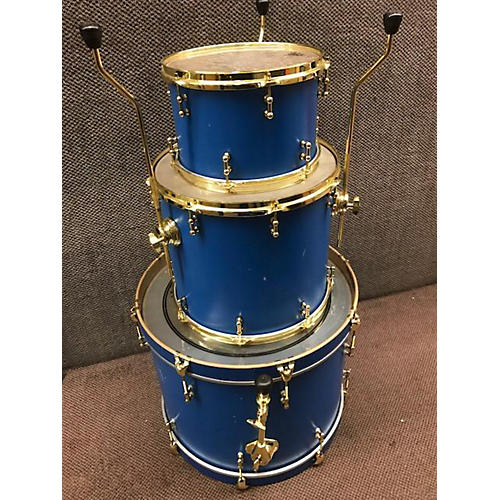 In Store Used Used LOVE CUSTOM DRUMS 3 piece 3 PIECE CUSTOM BLUE W/ GOLD HARDWARE Drum Kit
