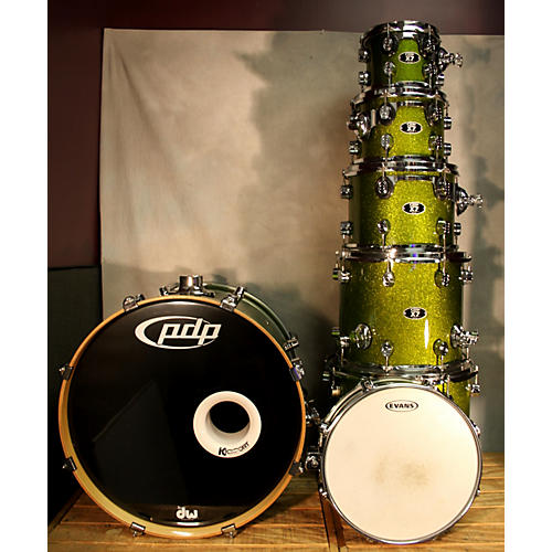 In Store Used Used PDP 7 piece X7 Series Lime Green Sparkle Drum Kit