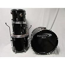 Used PERCUSSION PLUS 4 piece DRUM SET Black Drum Kit