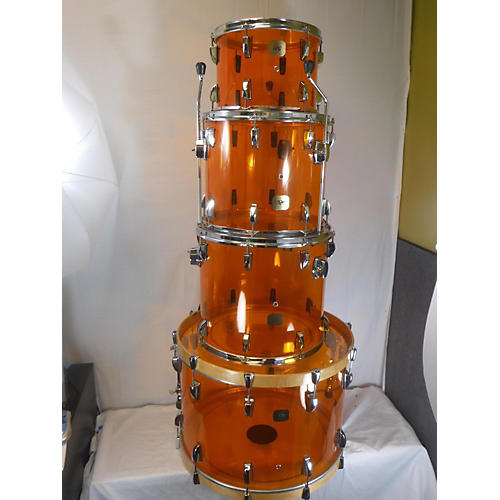 In Store Used Used Rock City Drum Co 4 piece Amber Vistalite Trans Amber Drum Kit