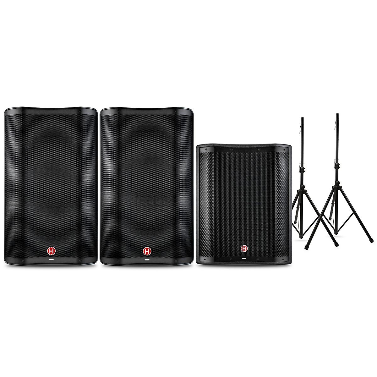 Harbinger VARI 2300 Series Powered Speakers and V2318S Subwoofer Package with Speaker Stands