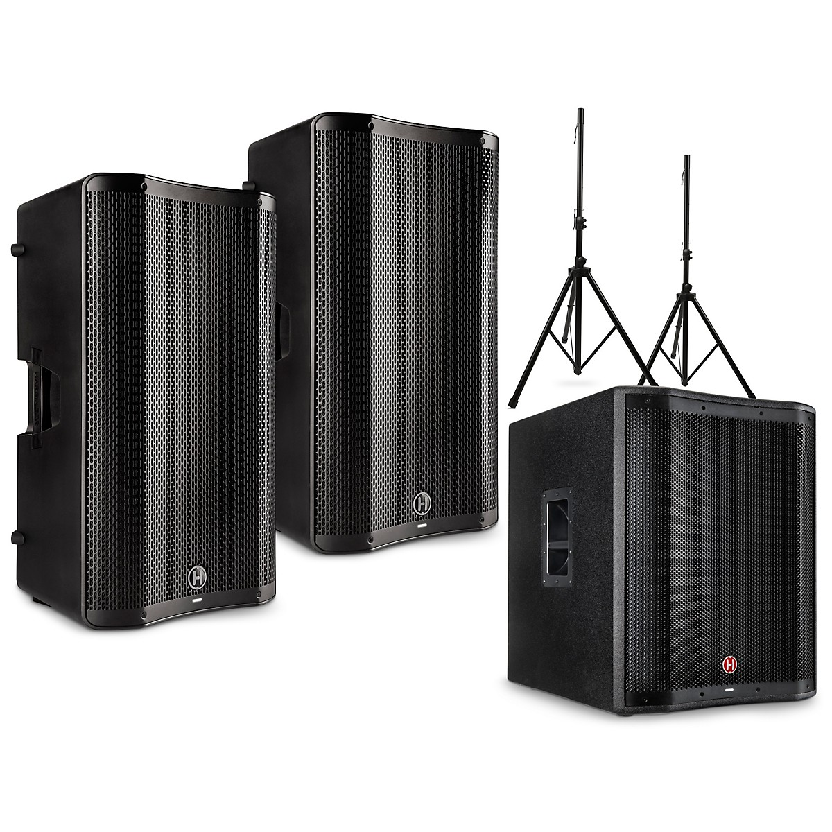 Harbinger VARI 4000 Series Powered Speakers Package with V2318S Subwoofer and Stands
