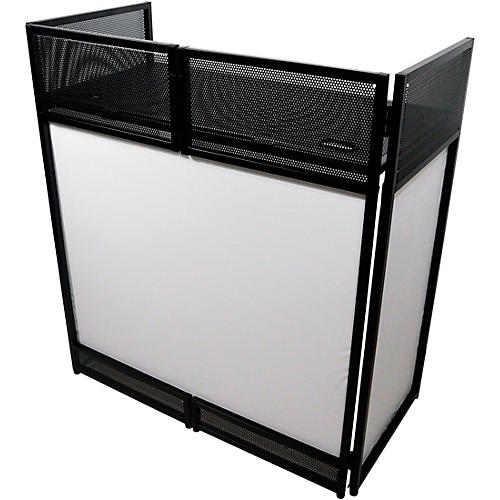 ProX VISTA DJ Booth Facade Table Station with White/Black Scrim kit and Padded Travel Bag