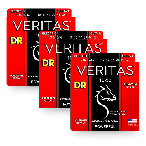 DR Strings Veritas - Accurate Core Technology Big and Heavy Electric Guitar Strings (10-52) 3-PACK