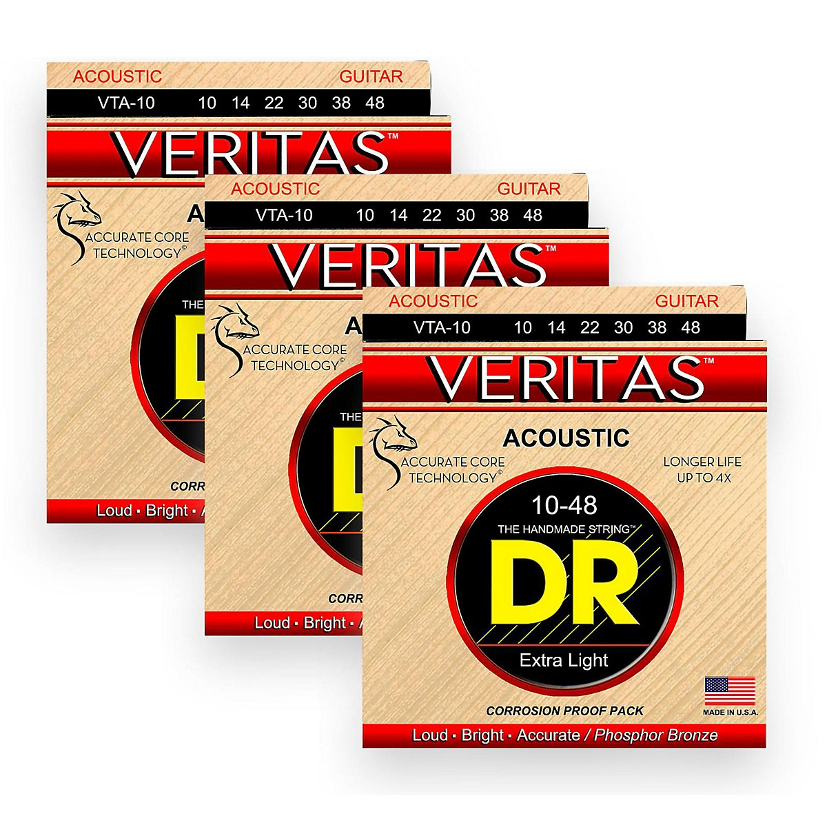 DR Strings Veritas - Perfect Pitch with Dragon Core Technology Custom Light Acoustic Strings 10-48 (3-Pack)