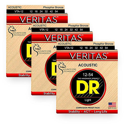 DR Strings Veritas - Perfect Pitch with Dragon Core Technology Light Acoustic Strings (12-54) 3-PACK
