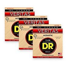 DR Strings Veritas - Perfect Pitch with Dragon Core Technology Light Acoustic Strings (13-56) 3-PACK