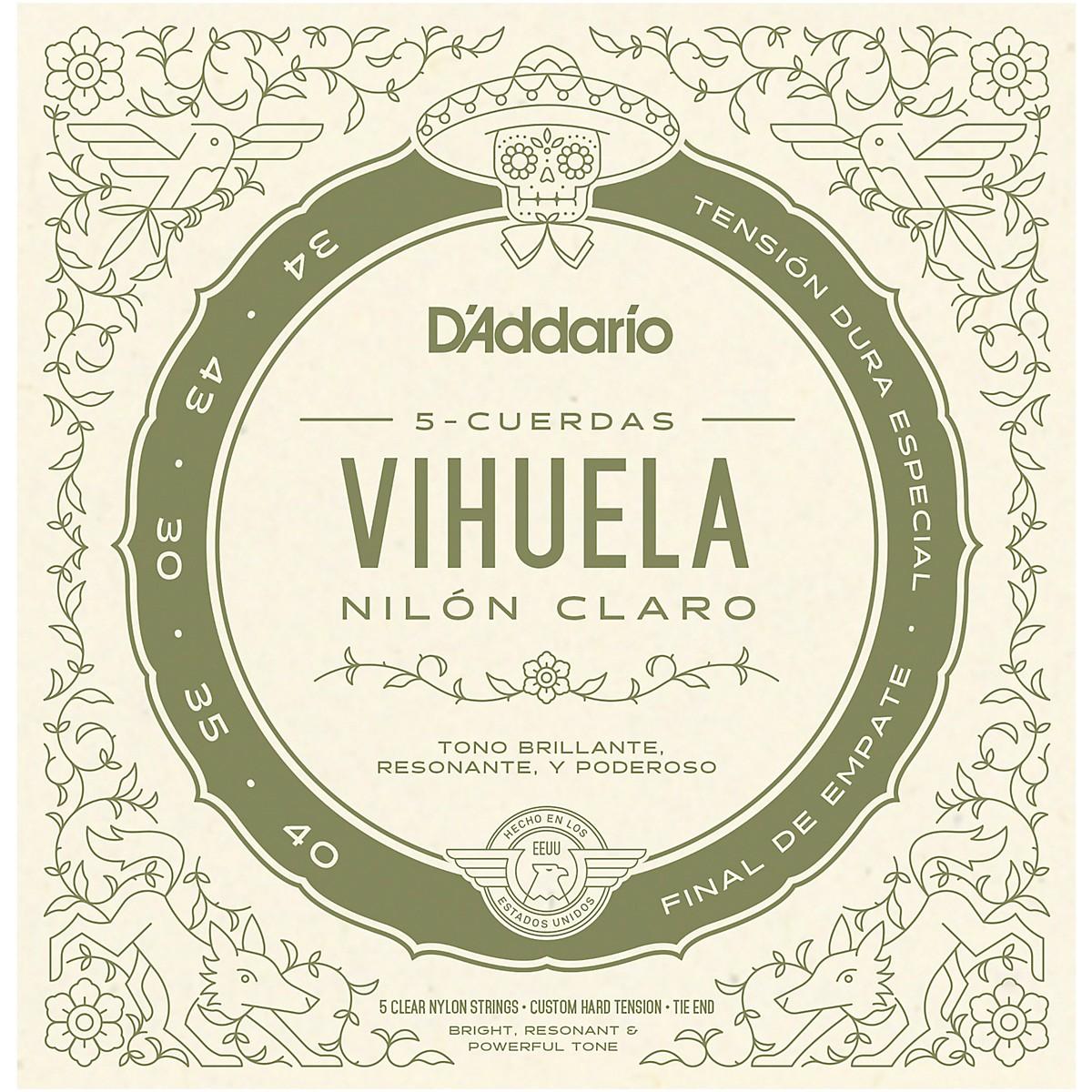 D'Addario Vihuela 5 String Set, Clear Nylon, Custom Hard Tension
