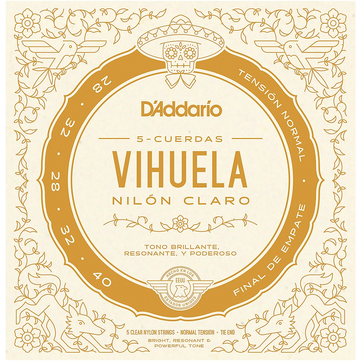 D'Addario Vihuela 5 String Set, Clear Nylon, Normal Tension