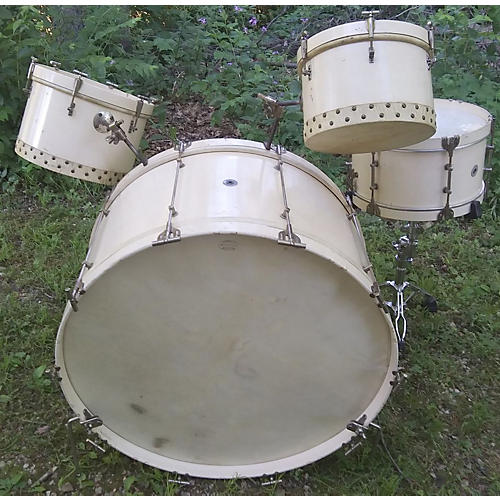 In Store Vintage Vintage 1940s Drum Master 4 piece Sears Roebuck & Co. White Drum Kit